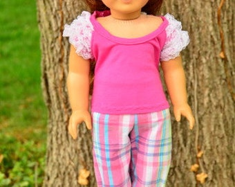 American Girl style 4 piece summer outfit including capris, shirt, shoes and hair bow in hot pink
