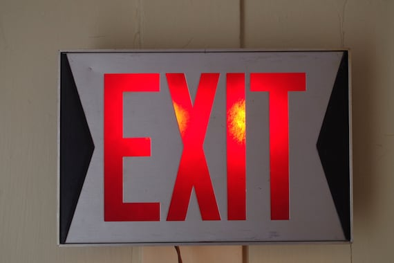 Vintage 1960s Lighted Exit Sign Mid Century by retrowarehouse