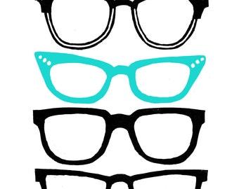 Retro glasses lino print in turquoise