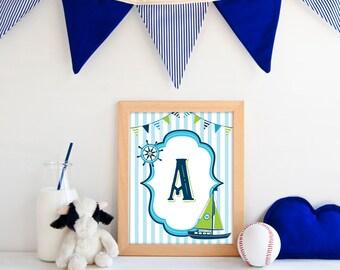 Boy Nursery Print – Nautical Nursery Decor – Monogram Nursery Art – Printable Nursery Art – Letter Print – Initial Art – Nursery Letter Boy