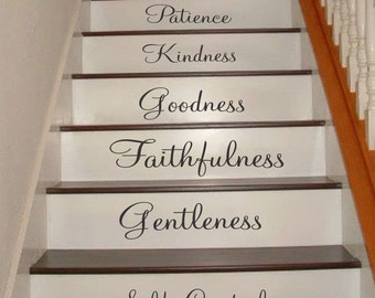 Galatians 5:22-23 Stair Riser Decals, Stair Decals, Fruit of the Spirit Decals, Inspiration Quotes Stair Decals, Stair Stickers, Wall Decals