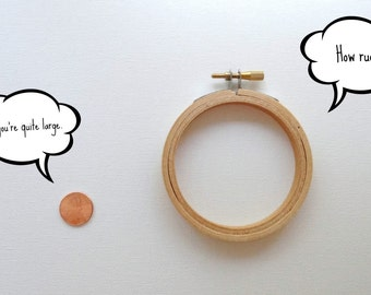 MINI EMBROIDERY HOOP - Cute little hoop to frame cross stitch or embroidered art.  Great teaching supply for kid crafters.