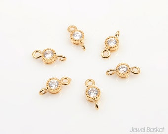 CG004-C2 (6pcs) / Tiny Cubic Connector in Gold Ver.2 / 4mm x 9mm
