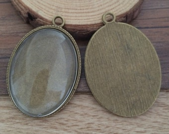 5set  30mmx40mm Bronze Oval anitque Pendant Trays with Glass Cabochons AA212