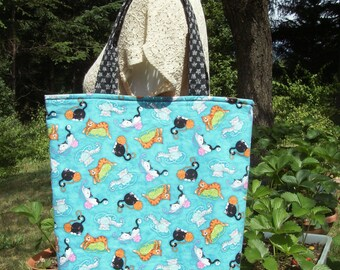 Large Tote Bag - Kozy Kitties Blue Tote - Large Craft/Market Tote Bag