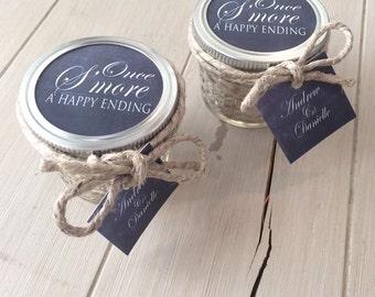 Smore Wedding Favors, Wedding smore favors, 50 Mini Wedding Smore Kits, Mason Jar Party Favor, Wedding Smore Party Favor