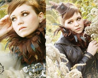 Steampunk feather collar brown neck corset victorian burlesque goth Gogo costume Halloween