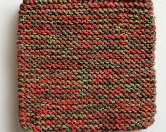 Hand Knit Cotton Pot Holders - Set of 2 - Brown, Paprika, Sage Green