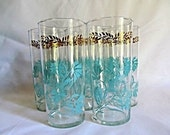 Set of Eight Federal Glasses Aqua Gold Mid Century Turquoise