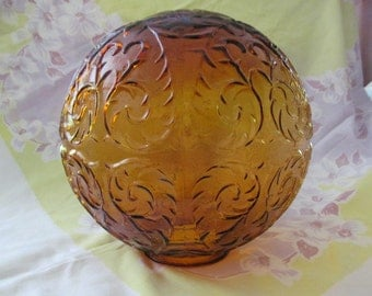 Gold Amber Glass Globe Swag Lighting Fixture