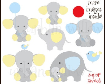 BABY ELEPHANTS Clipart, Elephant Yellow and Blue Clipart, Baby Shower Graphics, Elephant with Balloon, Cute Animal Clipart, Baby Shower