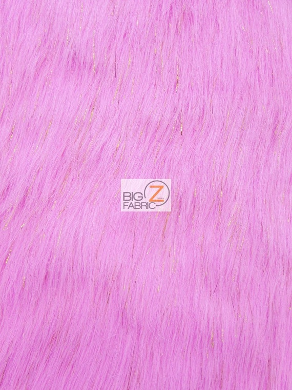 Faux fake fur solid shiny tinsel long pile fabric pink