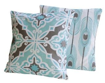Decorative THROW PILLOWS.  20 x 20 Blue Throw Pillow Covers. Blue and Brown Decorative Throw pillows