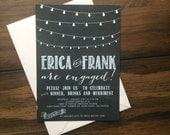 Printable Chalkboard & Bistro Lights Engagement Invitation