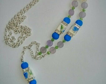 Beaded Chain Lanyard, Beaded ID Badge Holder, Beaded ID Tag Holder Lanyard, Pretty Lanyard,Lanyard Necklace, Gift for Her, Office Jewellery