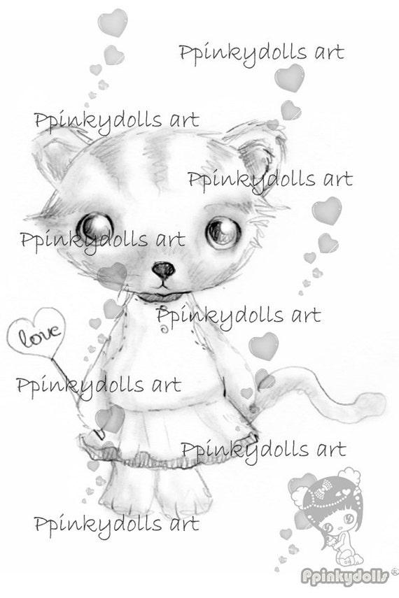 INSTANT DOWNLOAD Digital Digi Stamps..by Chrishanthi's art,Kitty''