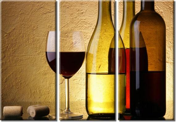 framed huge 3 panel wine bottle glass cork canvas art print. Black Bedroom Furniture Sets. Home Design Ideas