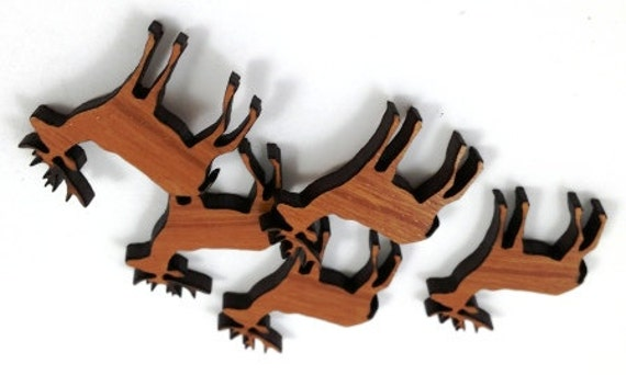 Laser Cut Supplies-8 Pieces.Elk Charms - Laser Cut Wood Elk -Earring Supplies- Little Laser Lab Sustainable Wood Products