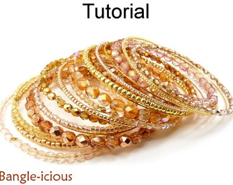 Beading Tutorial Bangle Bracelet - Beaded Memory Wire - Wire Working - Simple Bead Patterns - Bangle-icious #14252