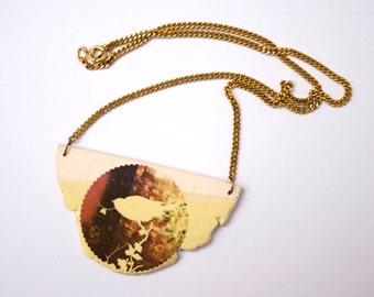 Bird Handmade necklace. Handmade Jewelry. White stoneware pendant.