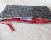 Wool Pencil Case Zipper Pouch made with Harris Tweed Blue Herringbone fabric