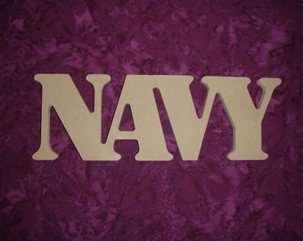 Navy Word Unfinished Military Wood Cut Out MDF
