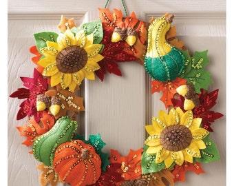 Harvest Time Wreath Felt Applique Kit