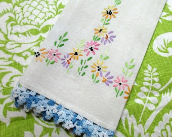 Guest Towel, Linen, Hand Embroidered