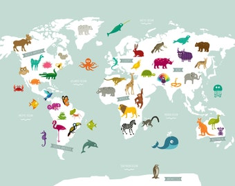 Animal World Map Poster Print