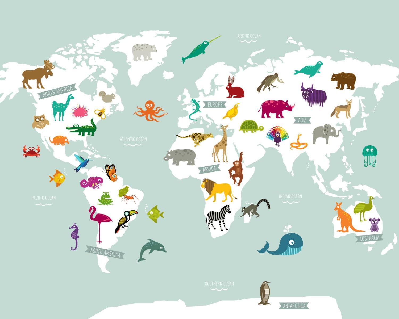 Animal World Map Poster Print