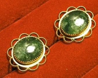 Vintage Gifts,  Gold Earrings, Vintage Green Stone Earrings, Vintage Gifts
