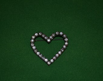 ON SALE  Very Nice Vintage Heart Shaped Pin with Rhinestones