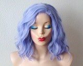 Pastel blue lavender beach wavy wig.  Short curly/wavy hairstyle wig. Heat resistant wig for daytime use or Cosplay
