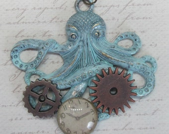 Steampunk octopus necklace with gears and clock gift ideas for her patina