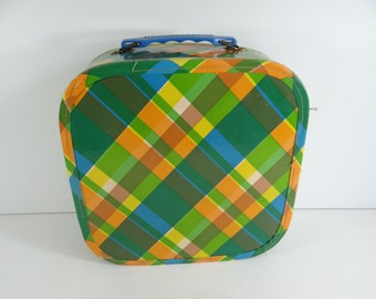 1960s Dove Midcentury Retro Colorful Overnight Bag Carry On with Curlers! - Charming