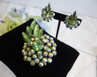 1960s Judy Lee Demi Parure Set - Clip Earrings and Brooch Pendant in Green and Aurora Borealis Rhinestones on a Gold Tone Setting - Signed