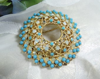 Sarah Coventry Aquarius Faux Pearl and Turquoise Color Brooch on a Gold Tone Setting - Faux Pearl - Faux Turquoise - Age of Aquarius