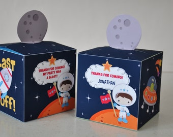 Space Rocket party pdf printable outer space favor box - astronaut, spaceship, alien ship - TEXT EDITABLE