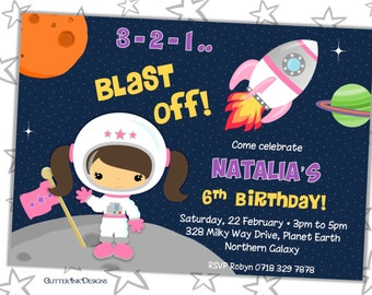 Space Rocket party pdf printable PERSONALIZED outer space blast off invitation with girl astronaut, spaceship, planets