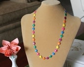Skittles on a Chain  Wear the Rainbow   A Colorful Balloon Enamel Gold Tone 24 Inch Necklace