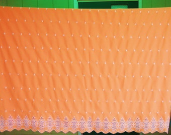 """2.4 Yds by 60"""" Stunning Vintage 60's-70's Embroidered Polyester Double Knit with Finished Scalloped Edge Sewing Supplies Craft Supplies"""