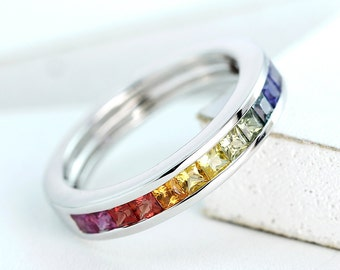 LGBT Pride Ring Engagement Wedding Band Sterling Silver, Unisex Unique Natural Rainbow Sapphire San Diego Ring R2044-925