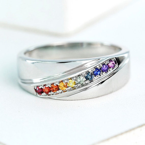 LGBT Pride Ring Engagement Wedding Band Sterling Silver Unisex Unique