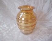 Lustreware flower vase, iredescent glass, depression glass vase, bouquet vase, barrel shaped vase