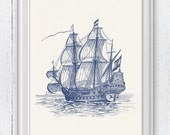 Old Ship Poster -The great  old Ship  in blue - sea life print- Vintage Frigate ilustration SPN018
