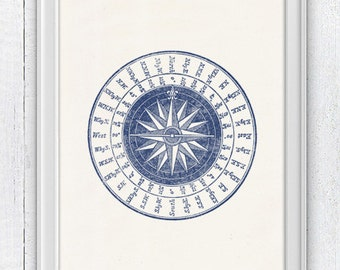 Vintage compass rose in blue - Nautical print poster - sea life tools print- Vintage illustration sea life SPN047