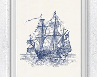 The great  old Ship  in blue - Old Ship Poster - sea life print- Vintage Frigate ilustration NTC018