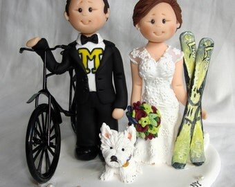 Customized Bride & Groom Bike Bicycle Rider Groom and Skater Bride Wedding Cake Topper - Bike and skateboard themed DJ wedding cake topper