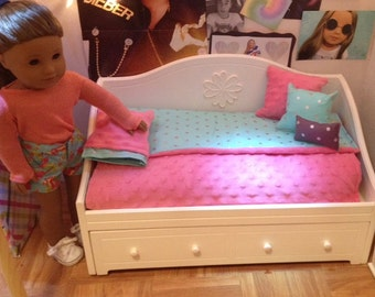 "Polkadot Teal and Gray with Pink 18"" Doll 6 Piece Bedding Set, Great for American Girl Doll Collecter!"