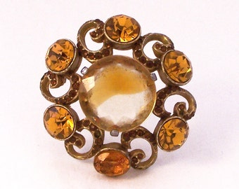 Vintage Gilt and Glass Brooch, Vintage Brooch, Orange Brooch, Sphinx Brooch, Orange Rhinestone Brooch